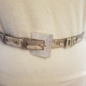 D&G leather snakeskin belt with rhinestone accents